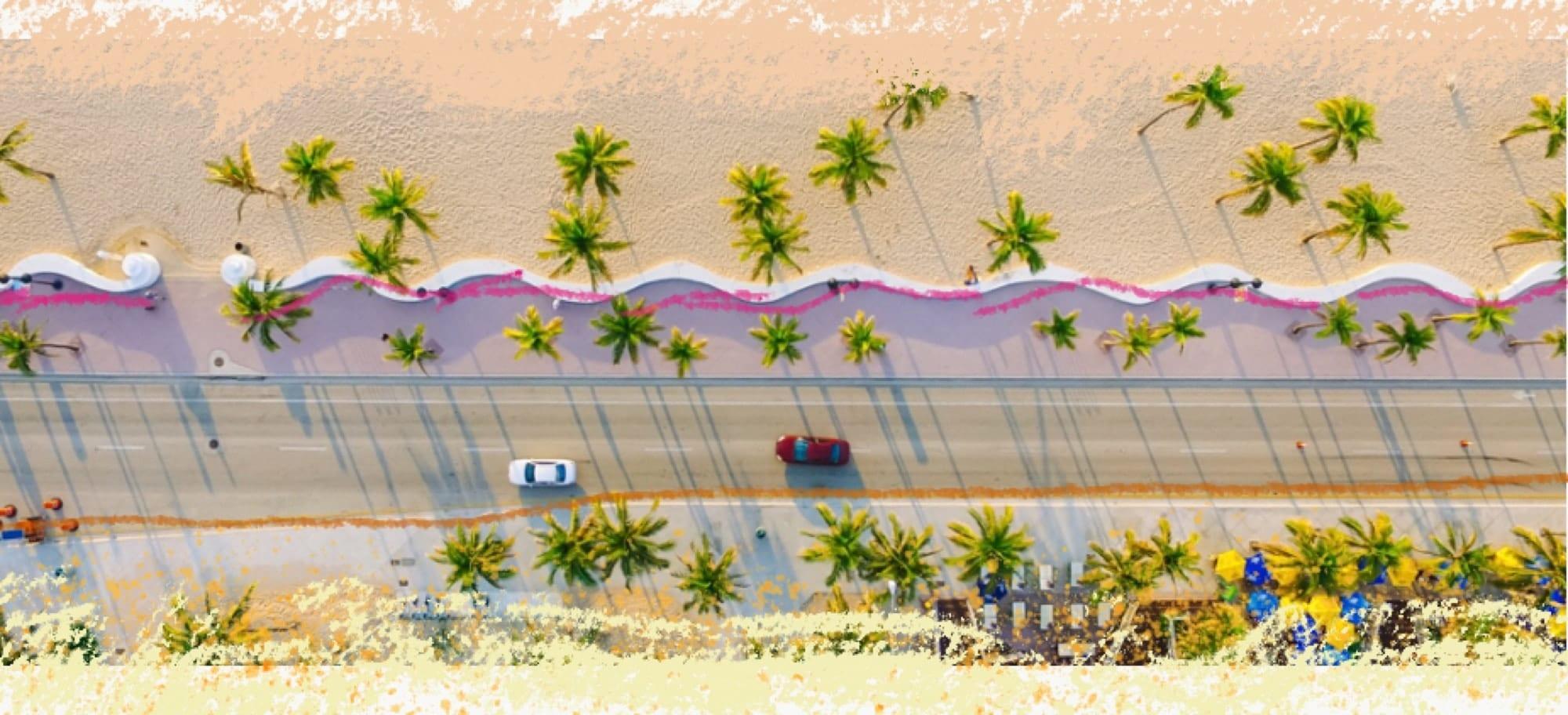 immagine di una spiaggia con 2 macchine viste dall'alto che richiama al titolo dell'articolo Virtù e infradito