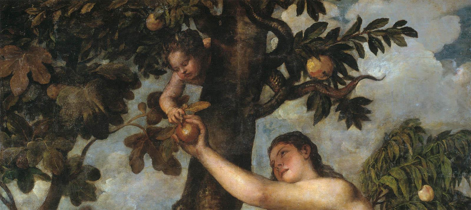 Eva in paradiso che raccoglie la mela di conoscenza dall'albero