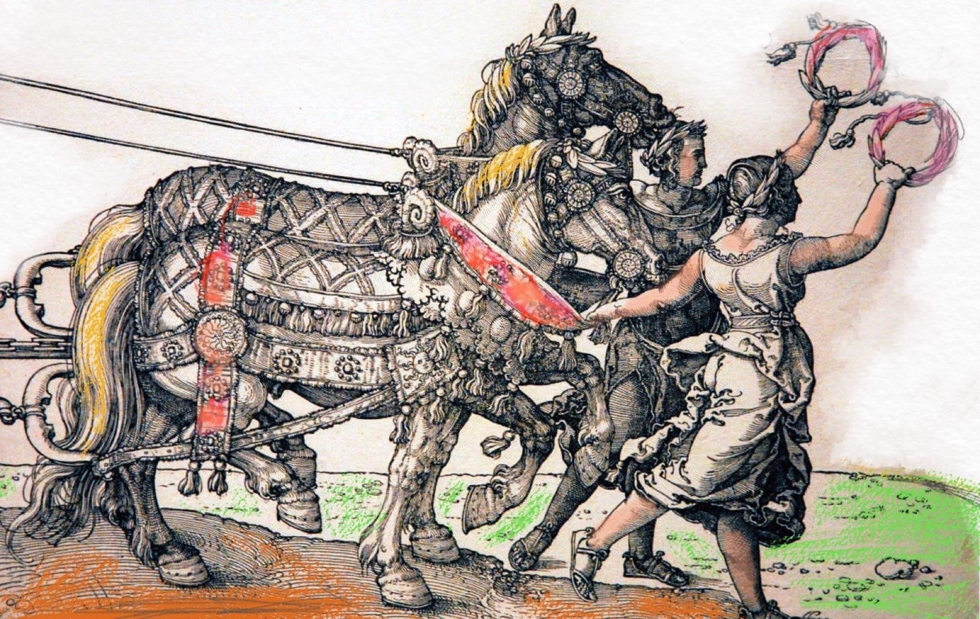 2 Cavalieri con dei doni che utilizzeranno presumibilmente per corteggiare alcune dame