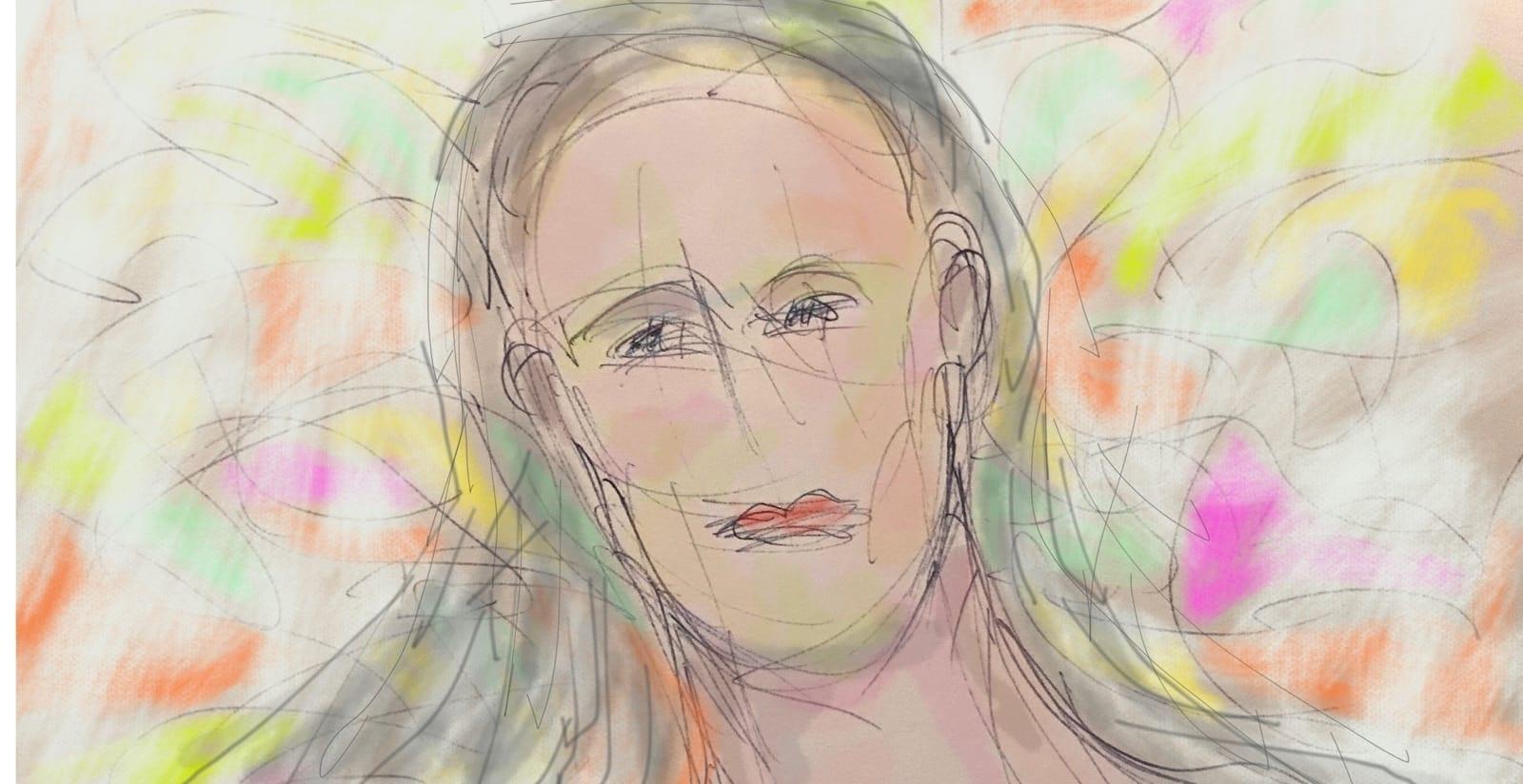 donna in preda alla passione con uno sguardo sgranato