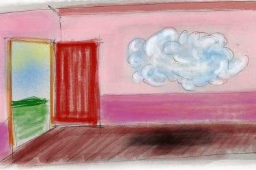 Una nuvola un una stanza a poca distanza dalla porta di uscita della stanza. Fuori dalla stanza c'è un paesaggio soleggiato.