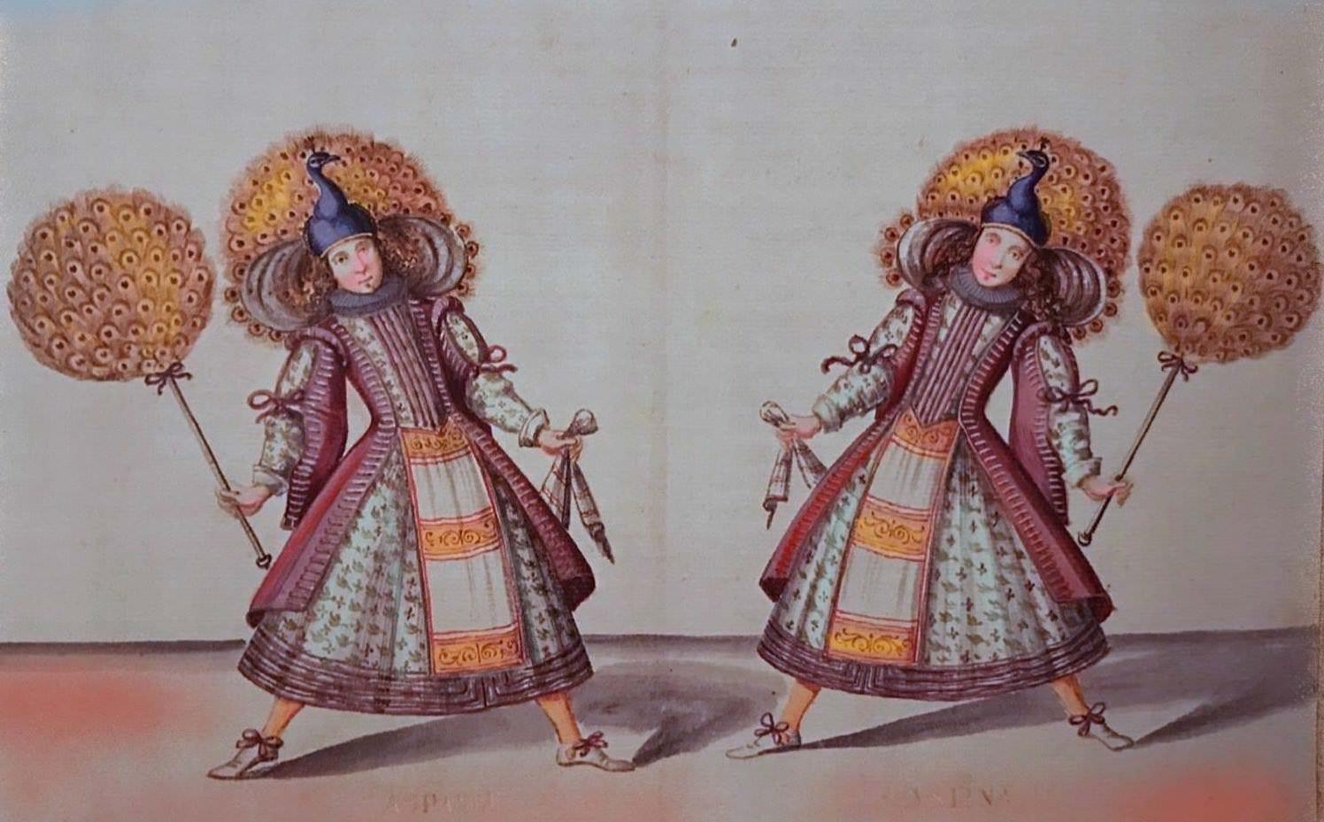 La stanchezza che crea creatività: vi sono due attori vestiti in tunica colorata e con un palloncino in mano che provano.