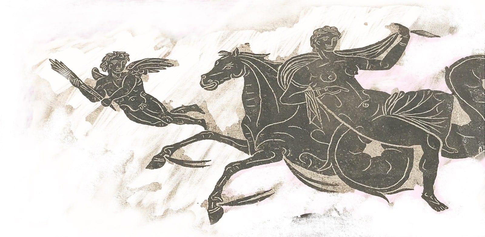 Un uomo che si fa trasportare con pigrizia da un cavallo che è condotto da un angelo