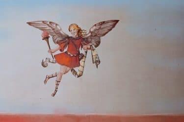 mezza donna mezza farfalla che vola con uno sfondo blu richiamando al beneficio del dubbio
