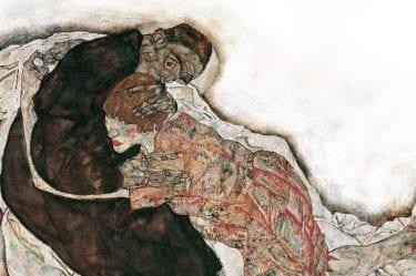 Quadro di Schiele dove si vede una donna in preda al dolore abbracciata da un uomo