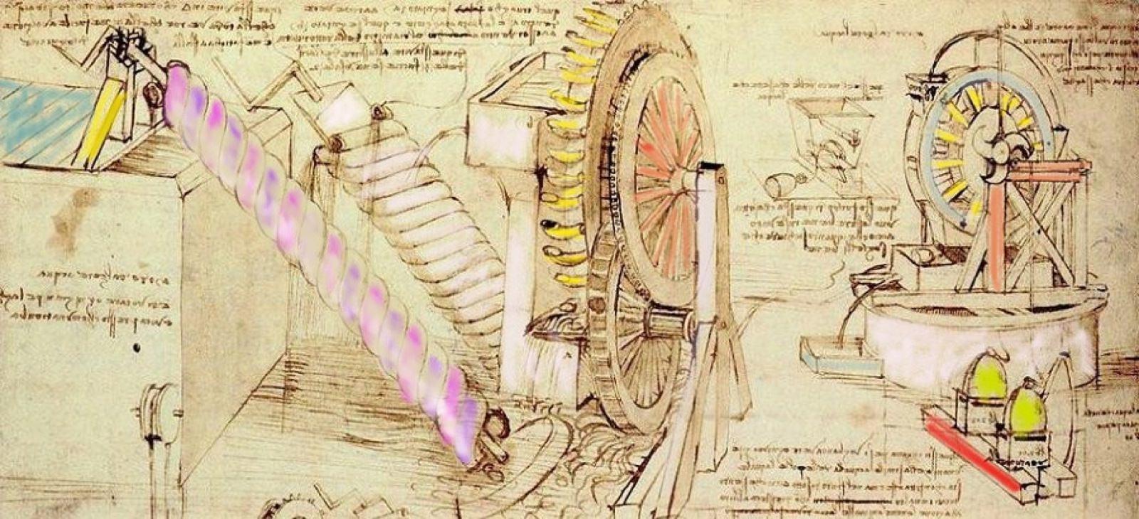 Degli schizzi di Leonardo che mostrano degli ingranaggi. Alla base dell'ingegno di Leonardi vi saranno stati motivi o motivazioni?