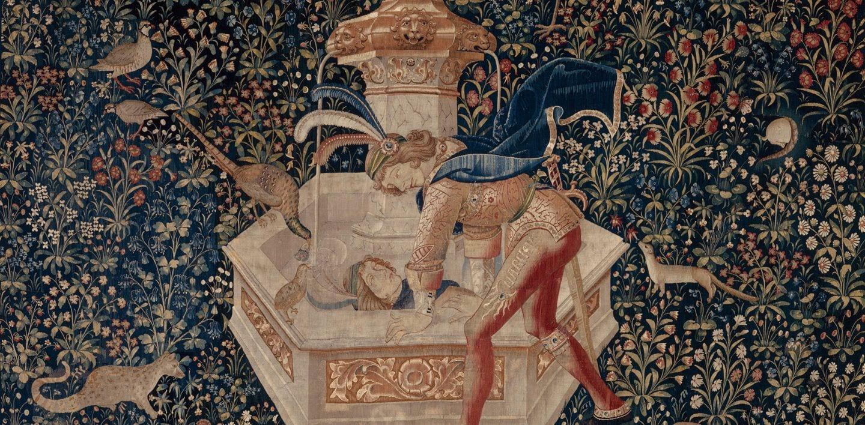 l'immagine mostra narciso che per punizione divina prova l'amore per la sua stessa immagine