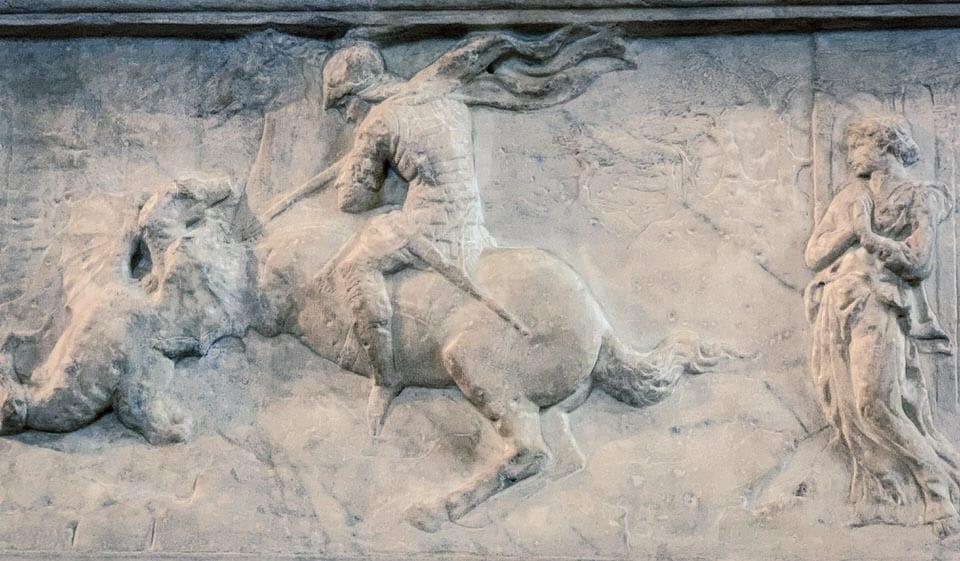 Cavaliere che aggredisce un animale