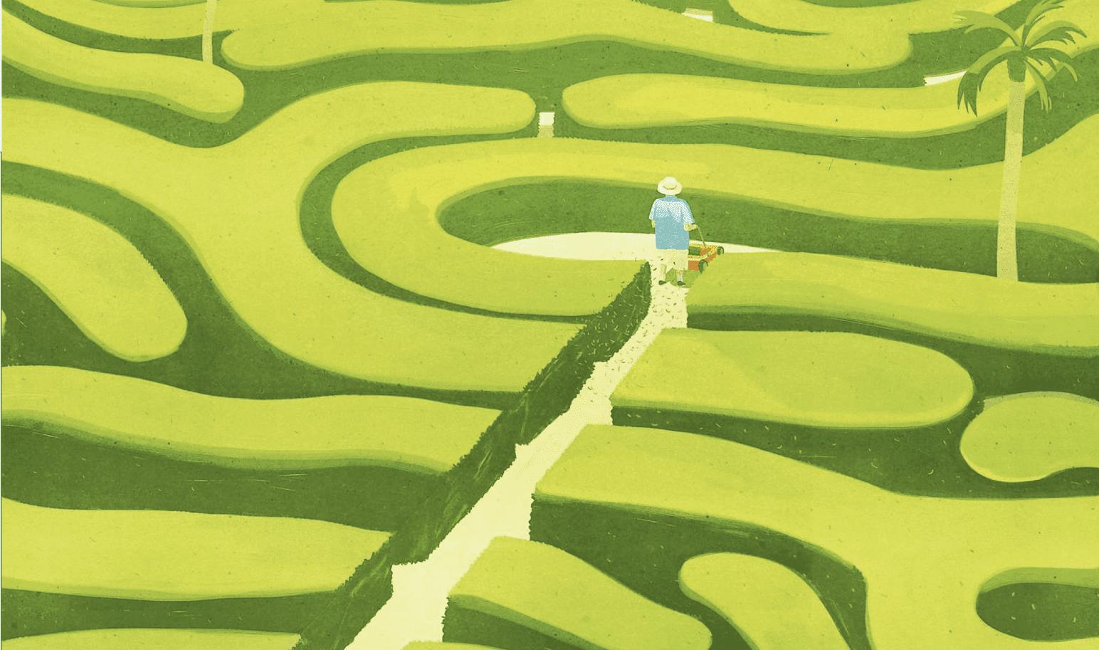 Uomo che percorre un labirinto con l'aiuto di un taglia erba